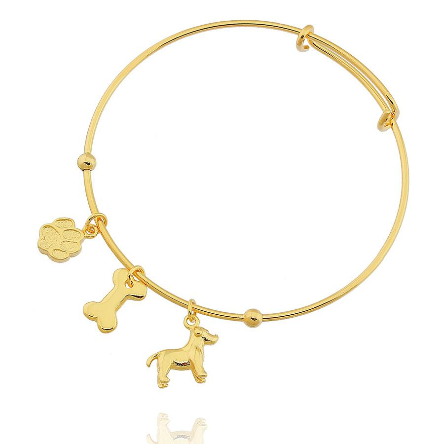 pulseira bracelete pet aro dourado