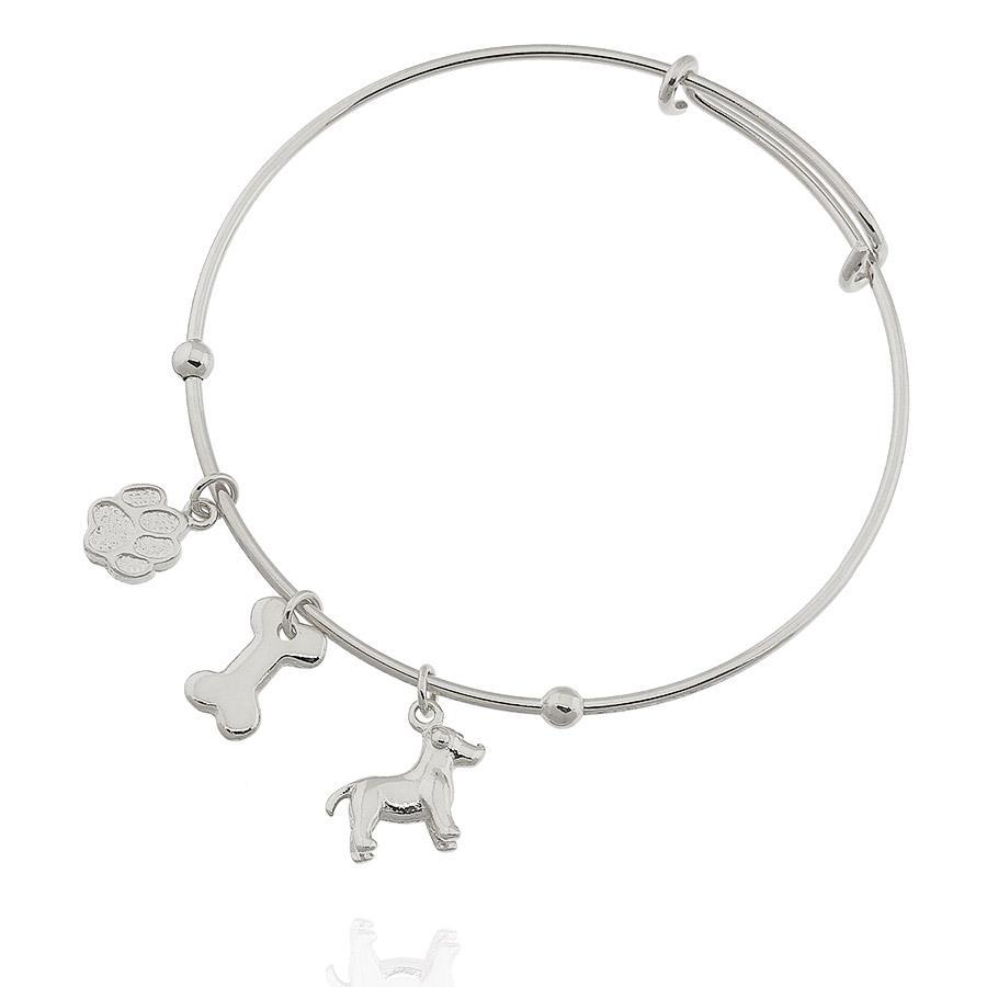 pulseira bracelete pet aro ródio claro