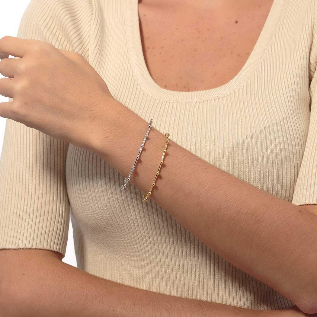 pulseira bracelete rígido bolas ródio claro
