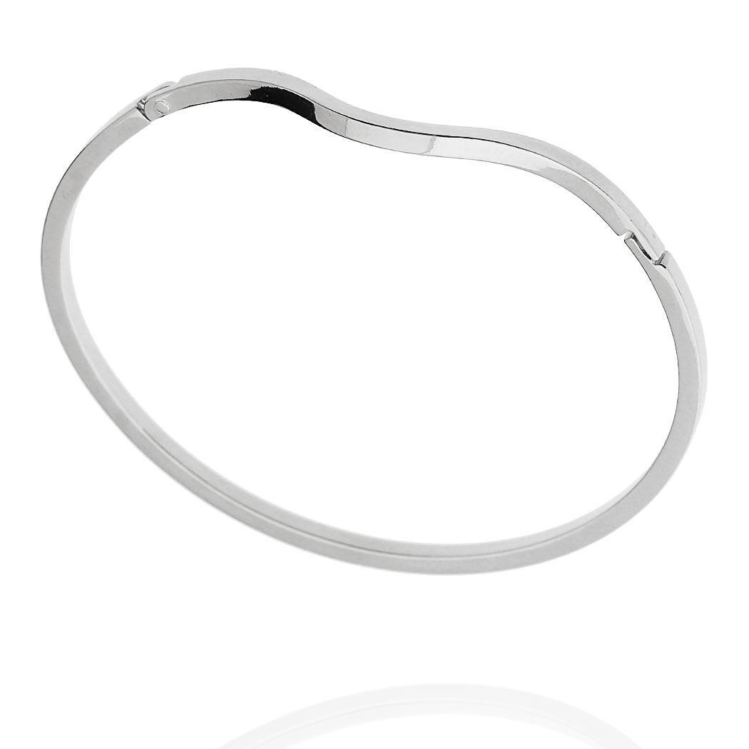 pulseira bracelete rígido curva ródio claro