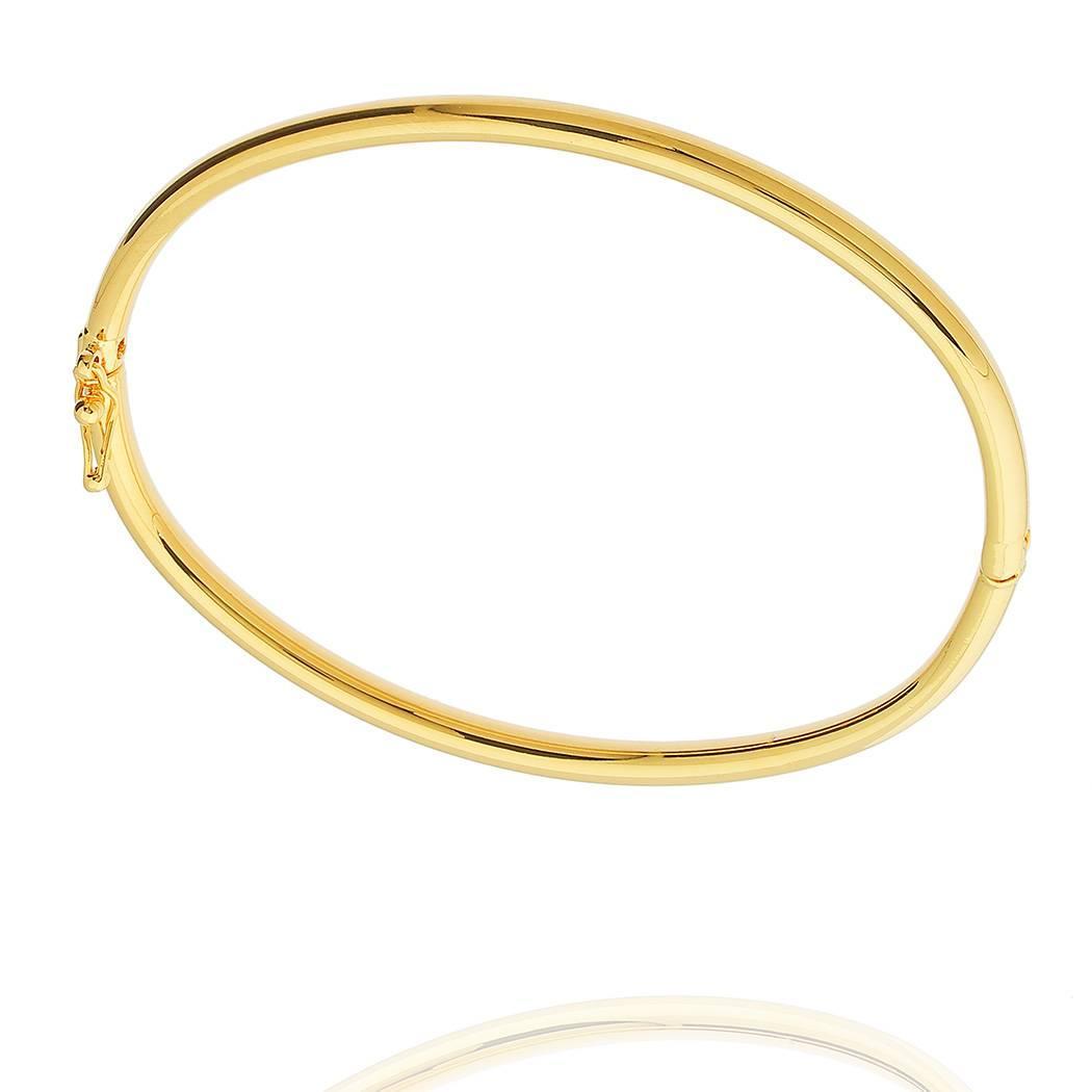 pulseira bracelete rígido liso dourado