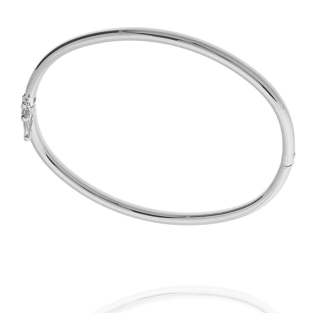 pulseira bracelete rígido liso ródio claro