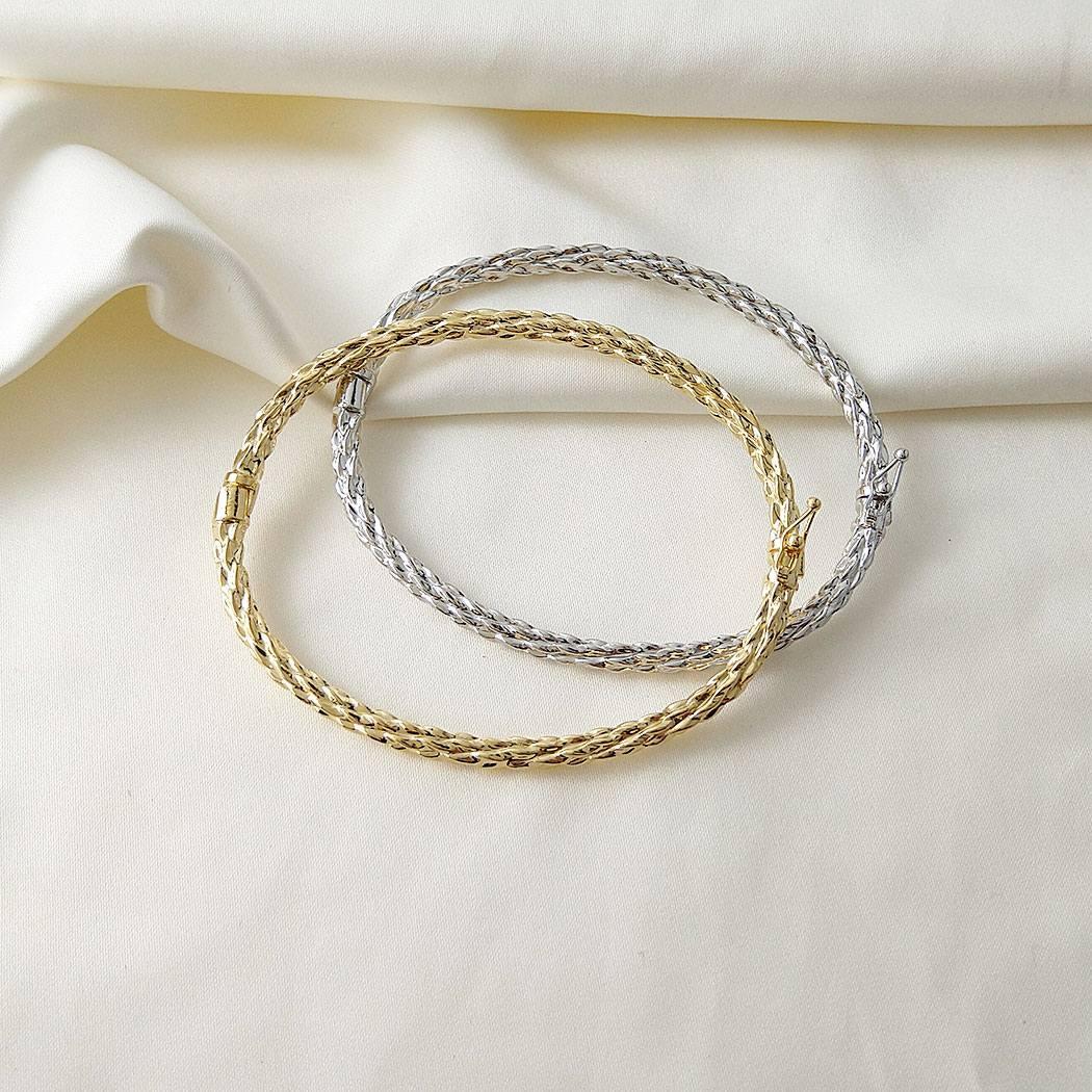 pulseira bracelete rígido ondulado dourado