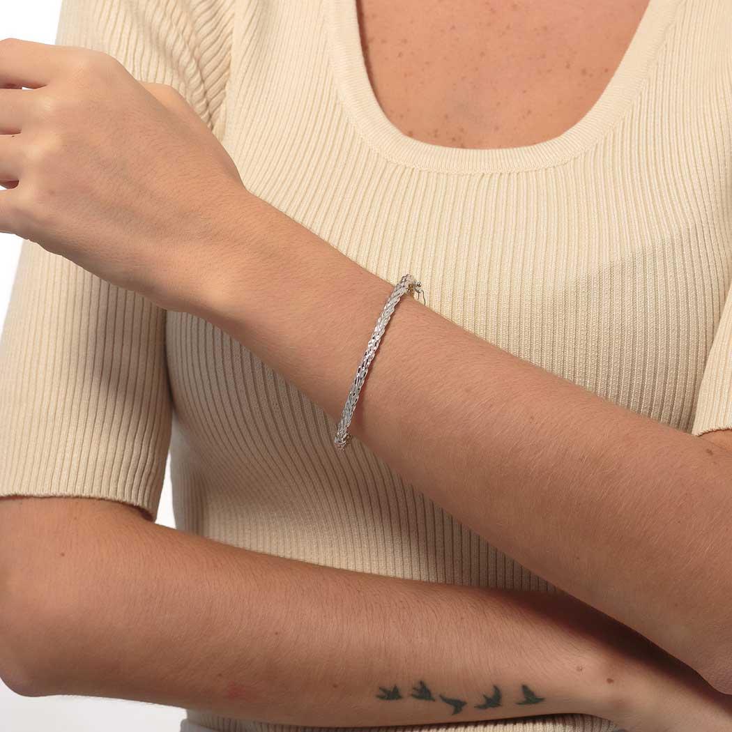 pulseira bracelete rígido ondulado ródio claro