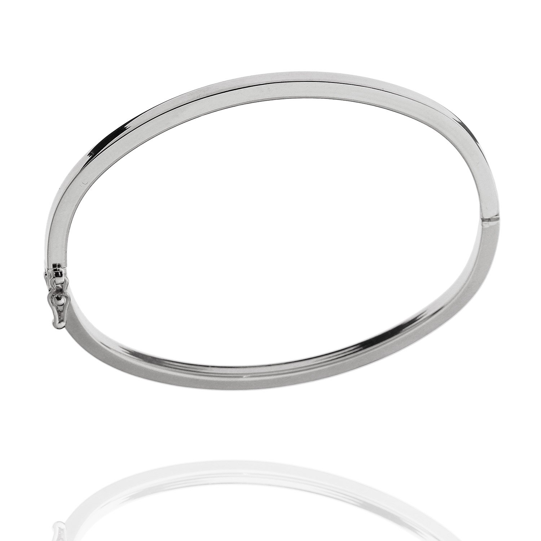 pulseira bracelete rígido tubo quadrado ródio claro