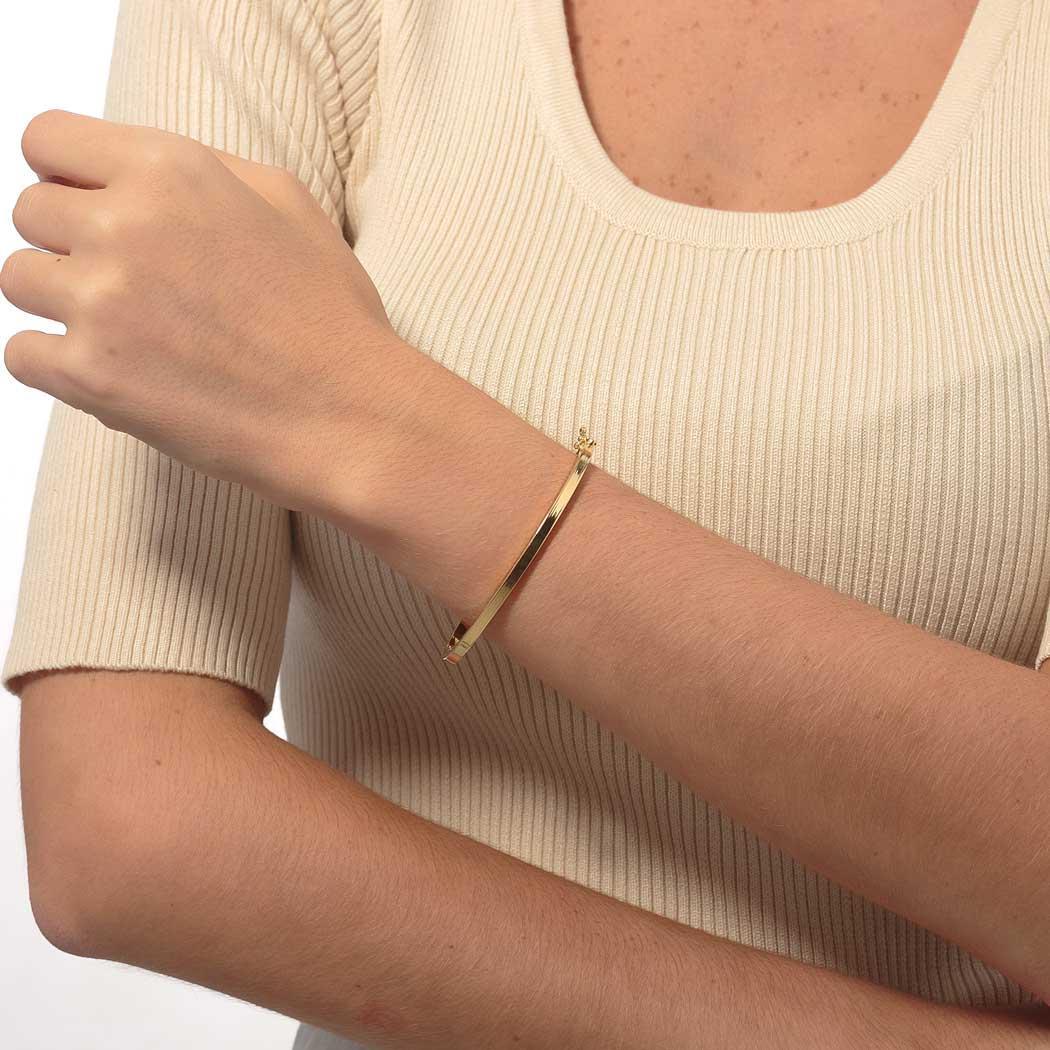 pulseira bracelete rígido tubo quadrado dourado