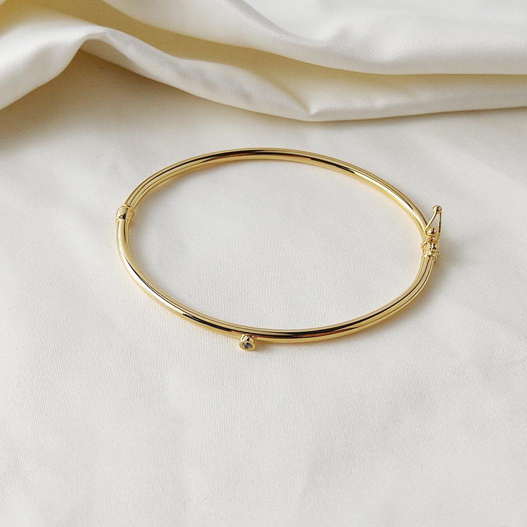 pulseira bracelete rígido zircônia dourado