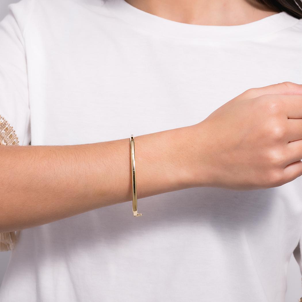 pulseira bracelete tubo oval dourado