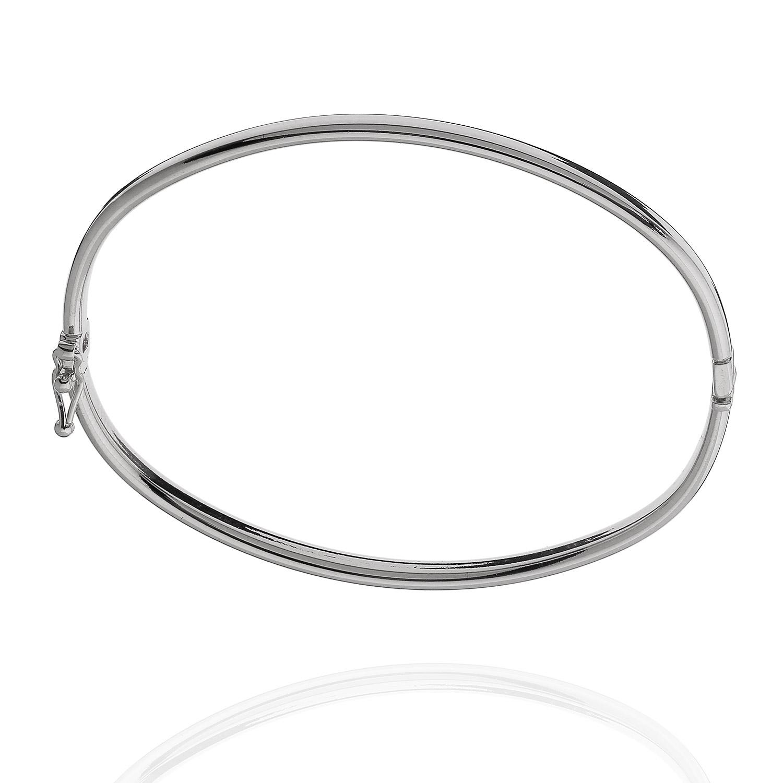pulseira bracelete tubo oval ródio claro