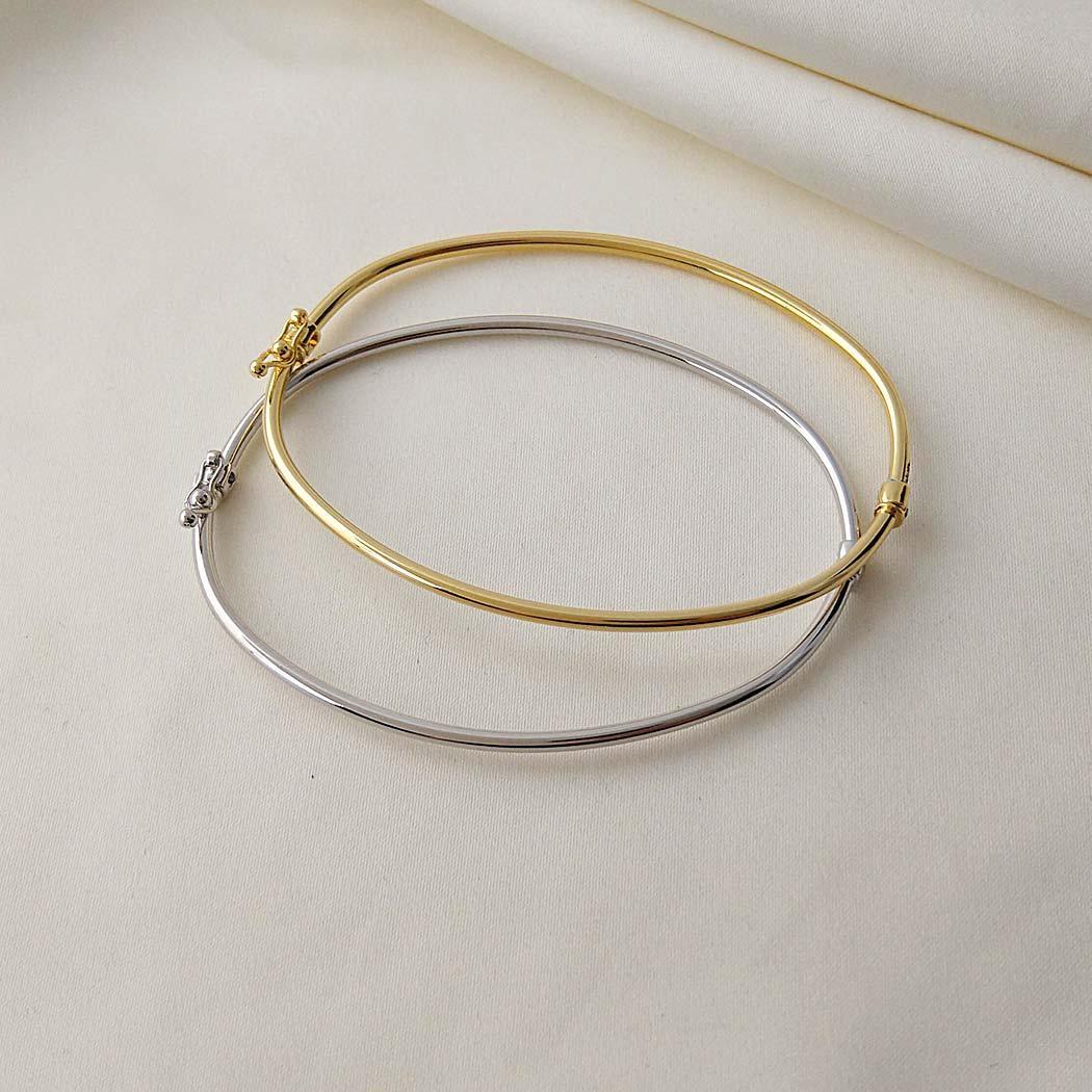 pulseira bracelete tubo fino dourado