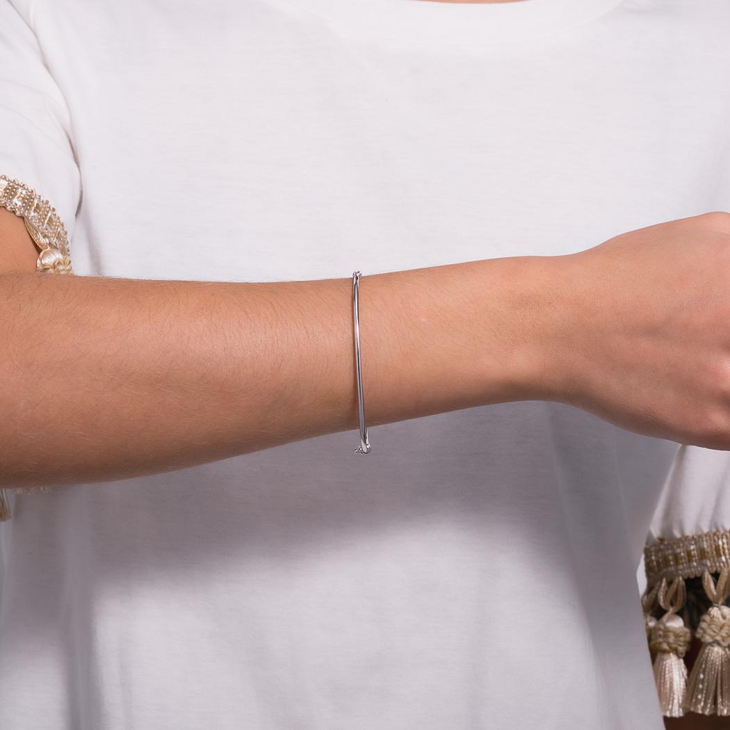 pulseira bracelete tubo redondo ródio claro