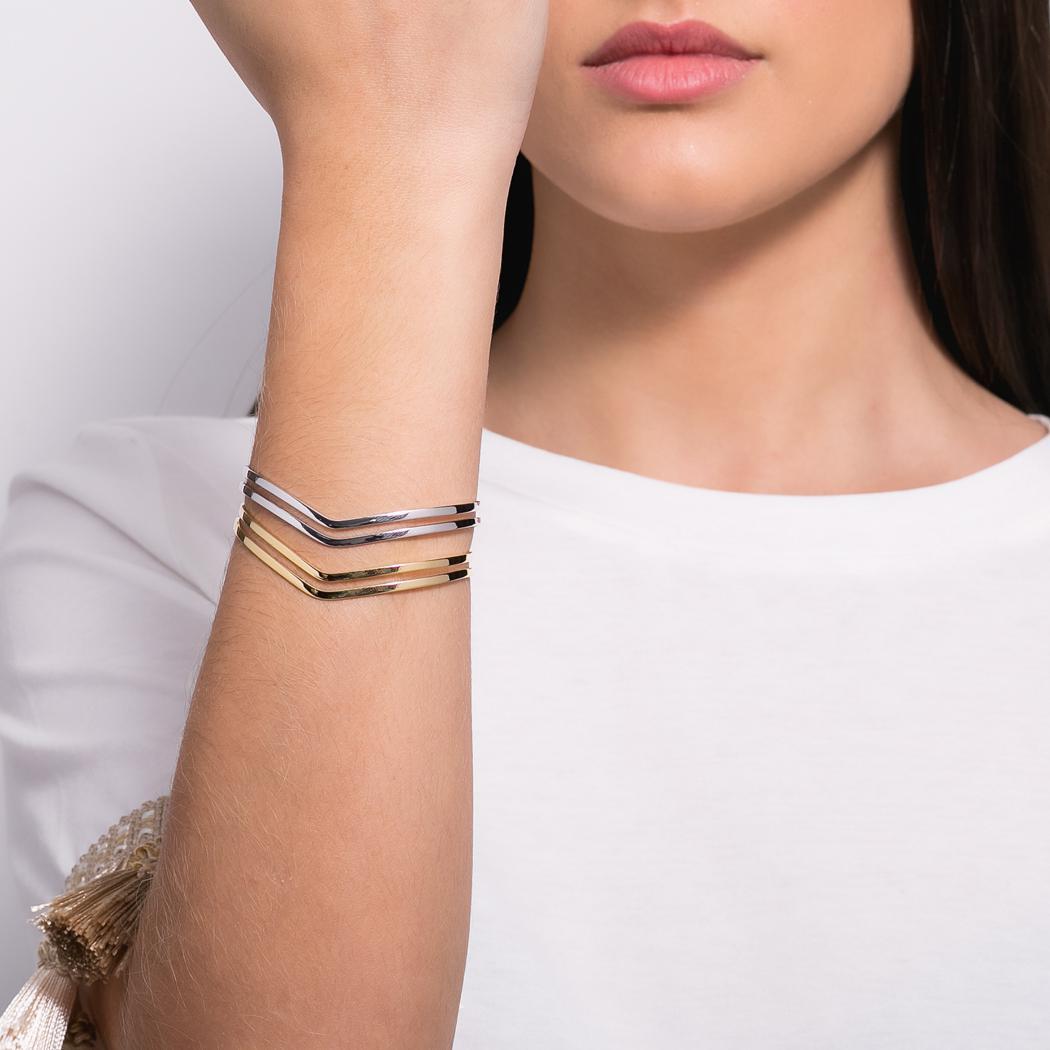 pulseira bracelete V dourado