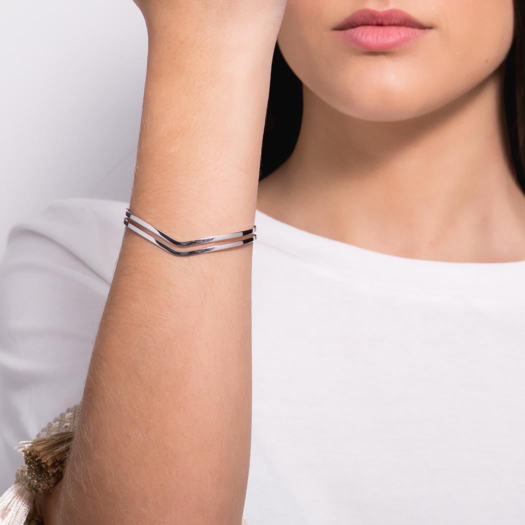 pulseira bracelete V ródio claro