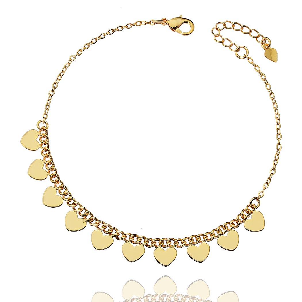 pulseira coração elos dourada