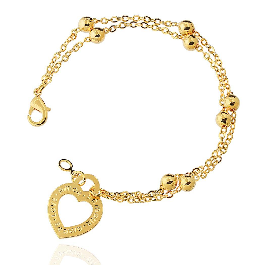 pulseira coração love dupla dourado