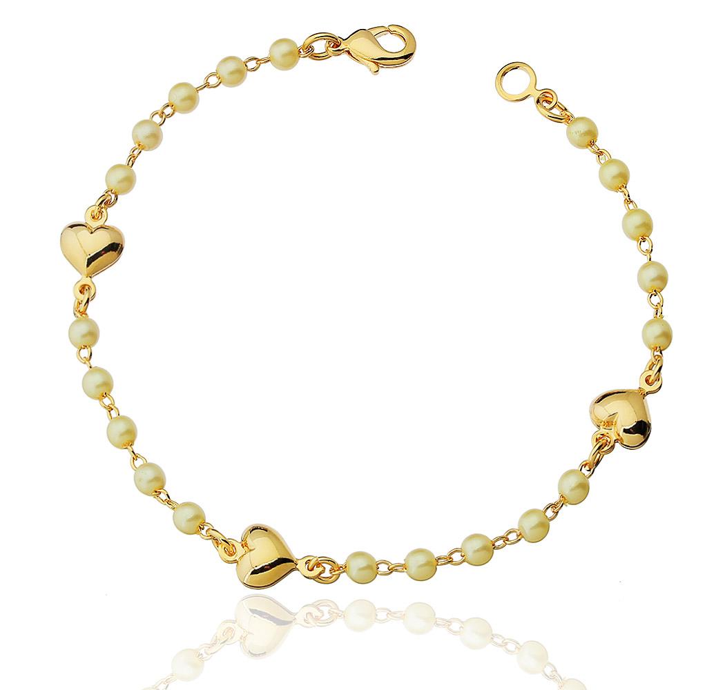 pulseira coração perólas dourado