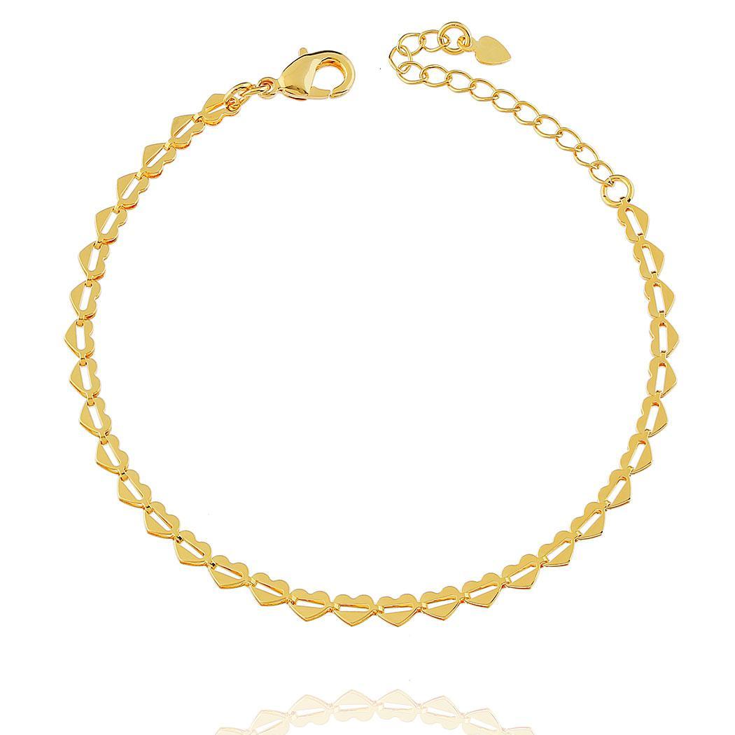 pulseira corações dourada