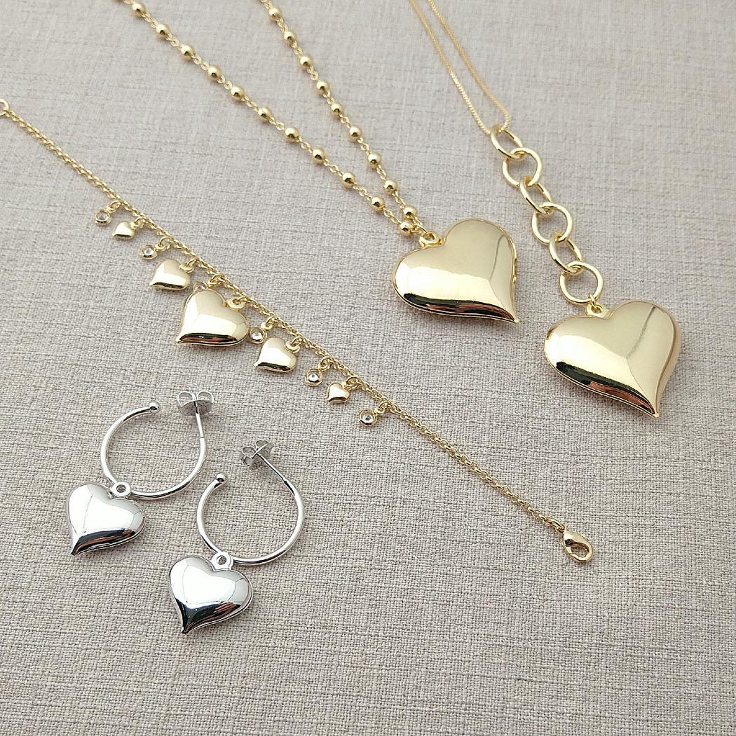 pulseira corações zircônias dourado