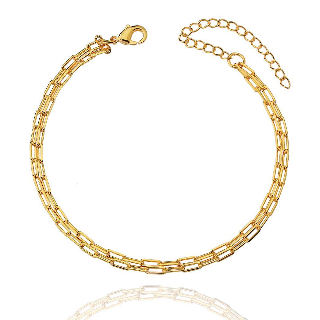 pulseira corrente dois fios dourada