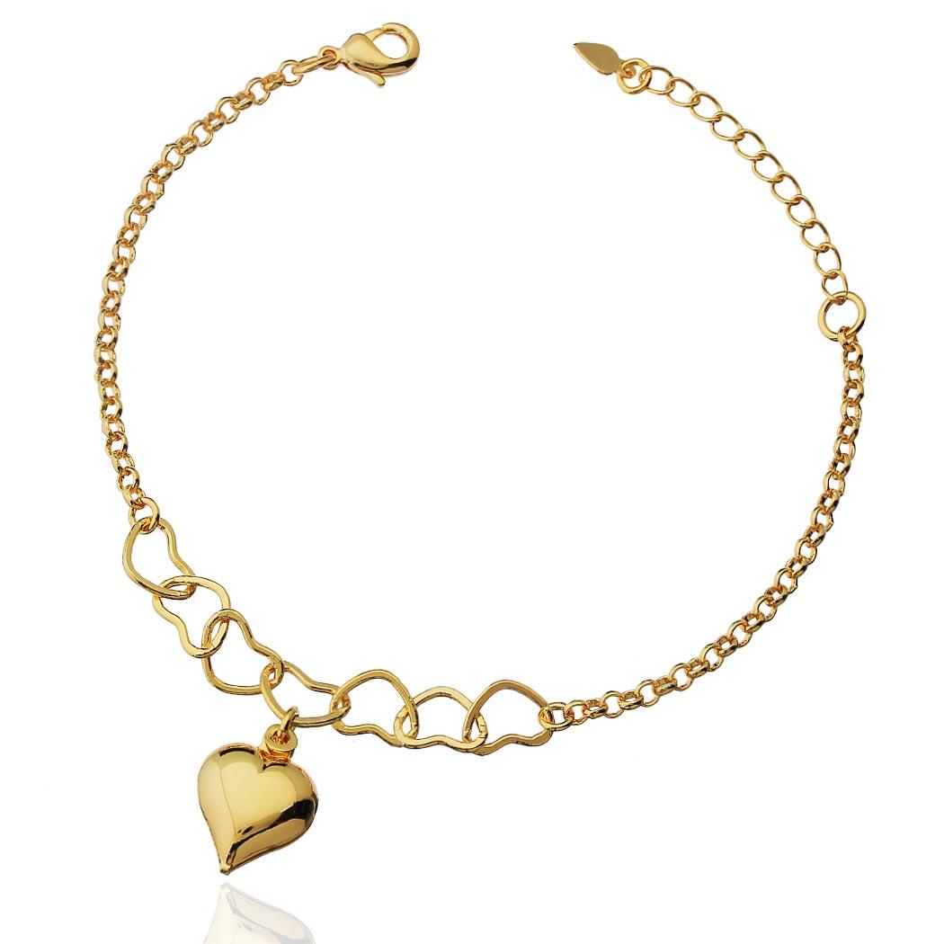 pulseira corrente elos coração dourado