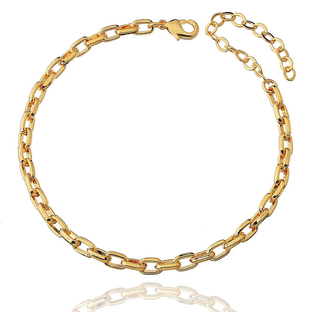 pulseira corrente elos lisa dourada