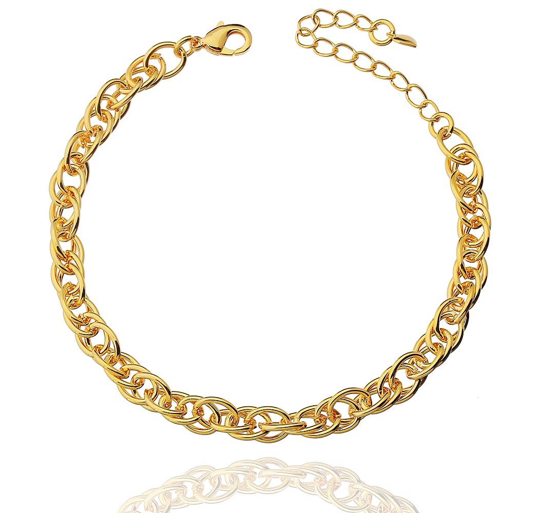 pulseira corrente elos trançados dourado