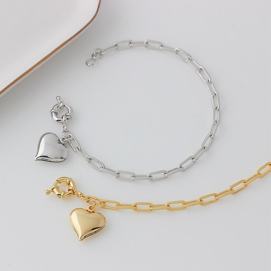 pulseira corrente pingente coração liso ródio claro