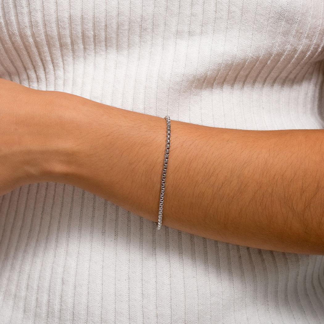 pulseira corrente veneziana grossa ródio claro