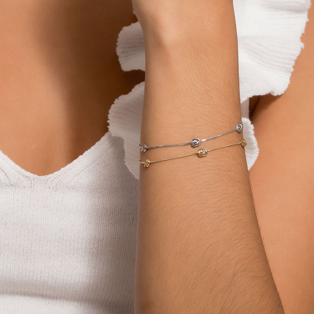 pulseira delicada nó corrente dourado