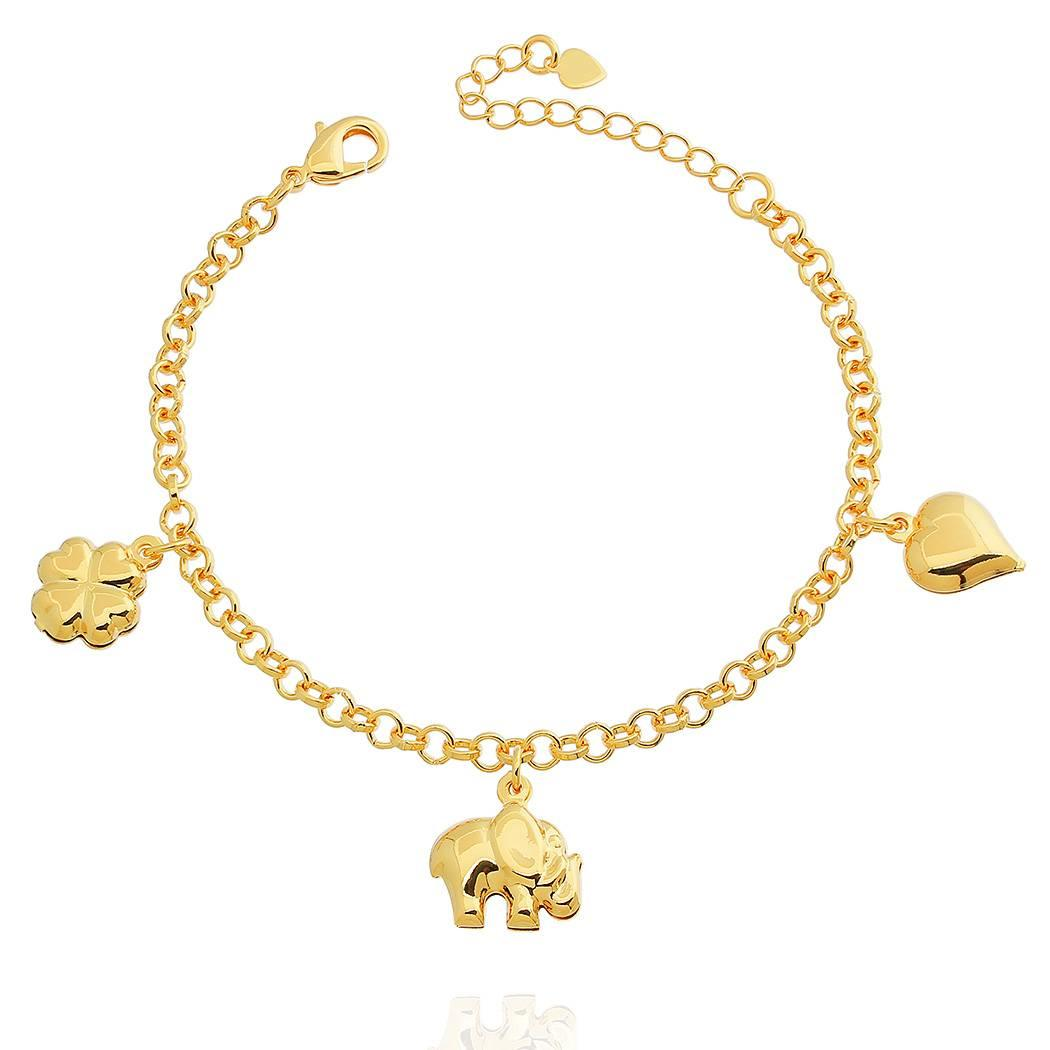 pulseira elefante trevo coração dourada