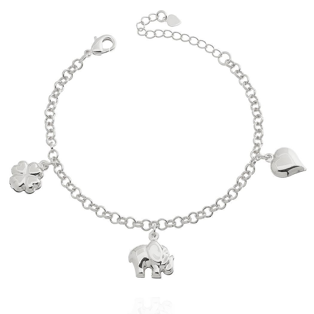 pulseira elefante trevo coração ródio claro