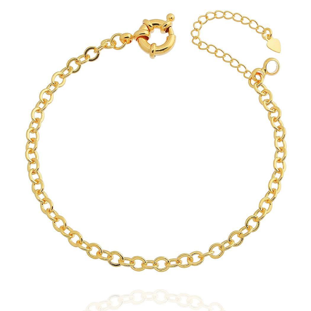 pulseira elo português fecho bóia dourada