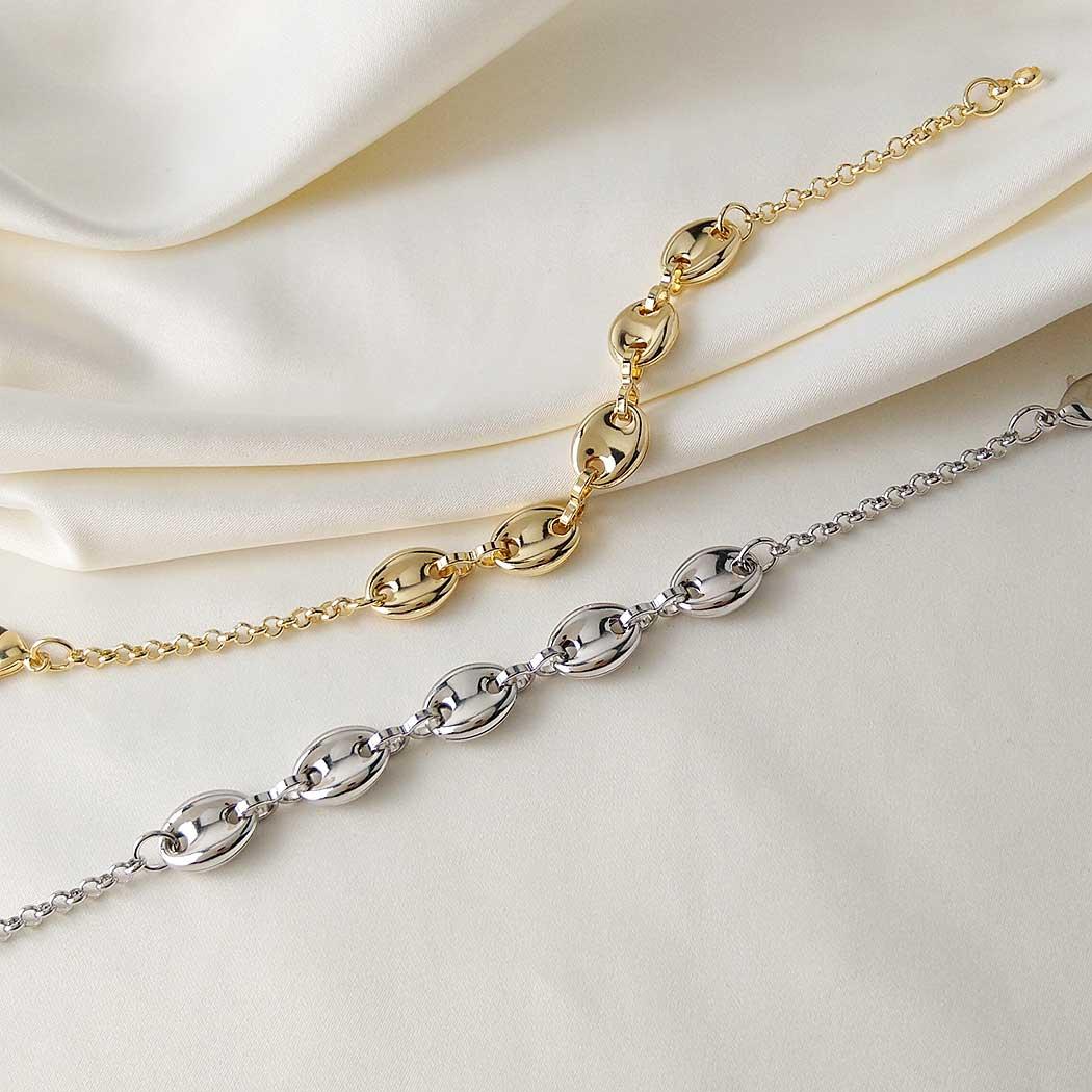pulseira elos navy boia dourada