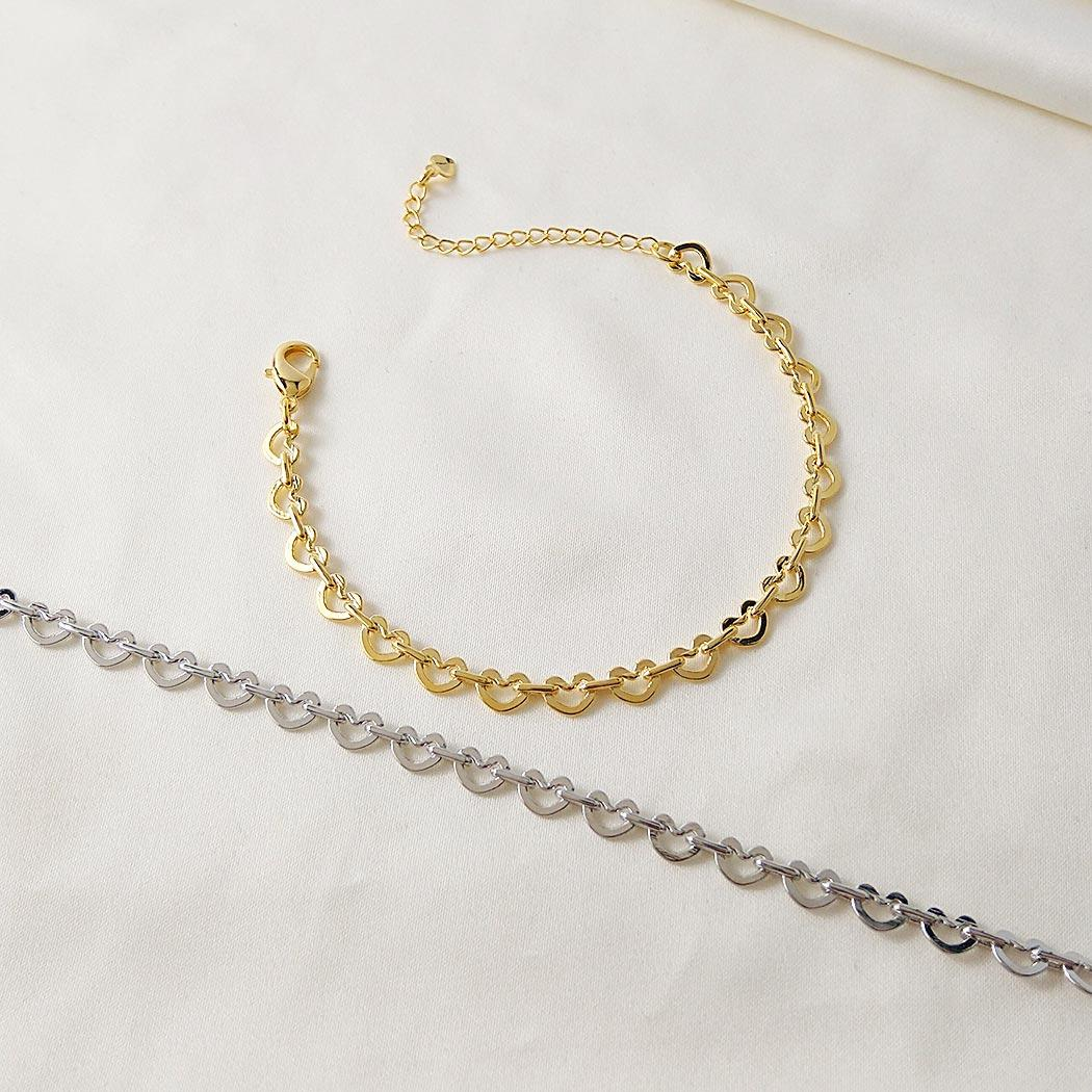pulseira elos corações dourado