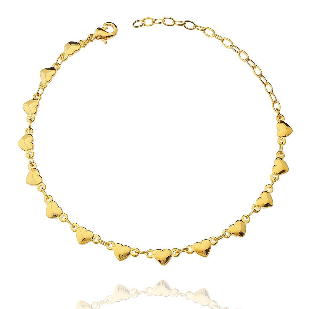 pulseira elos corações dourada