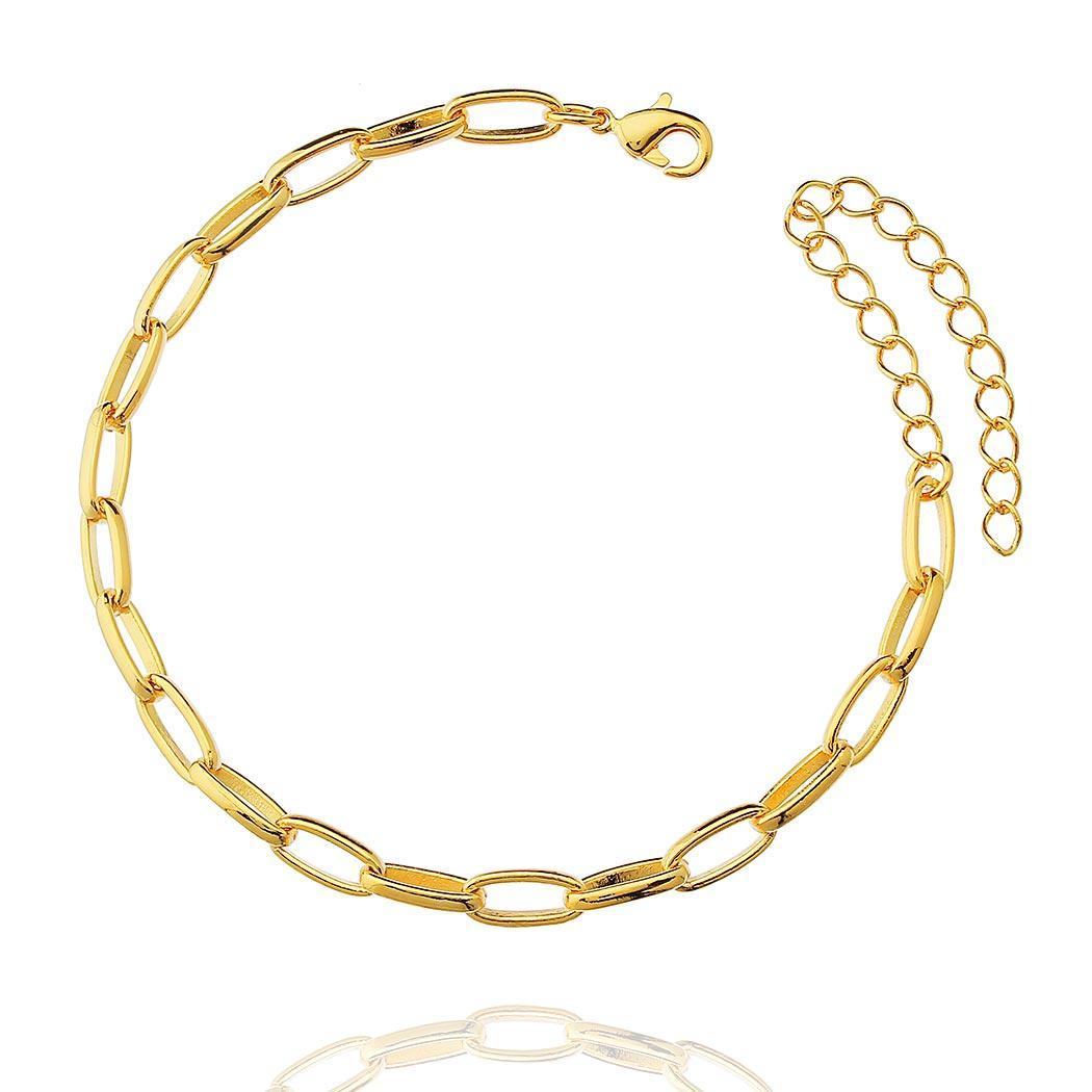 pulseira elos longos dourada