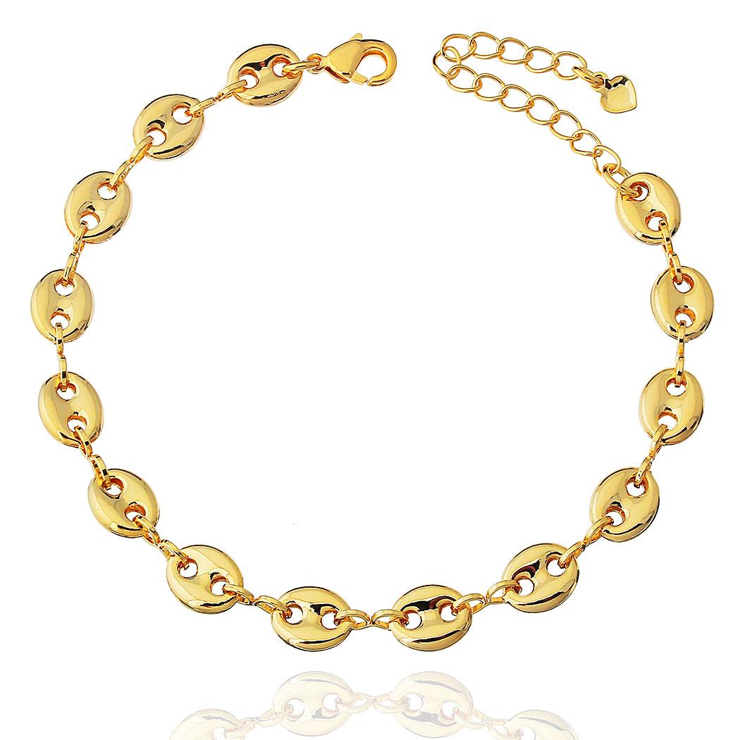 pulseira elos navy bóia dourado
