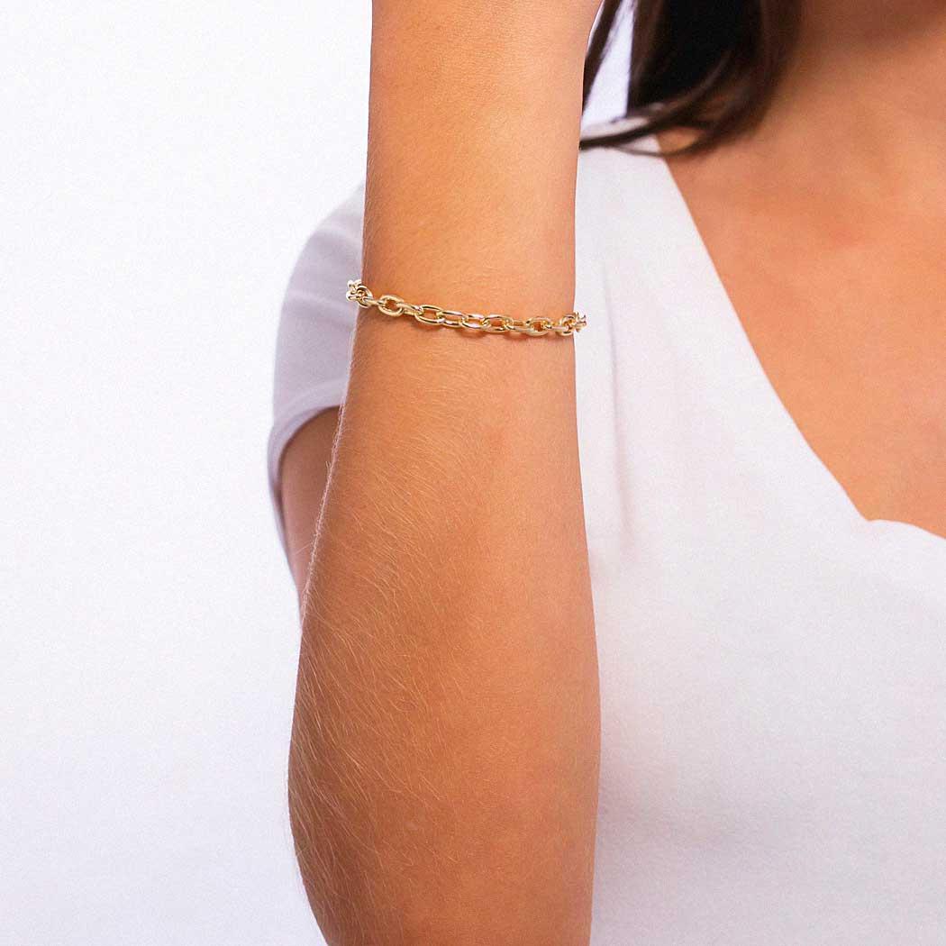 pulseira elos dourada