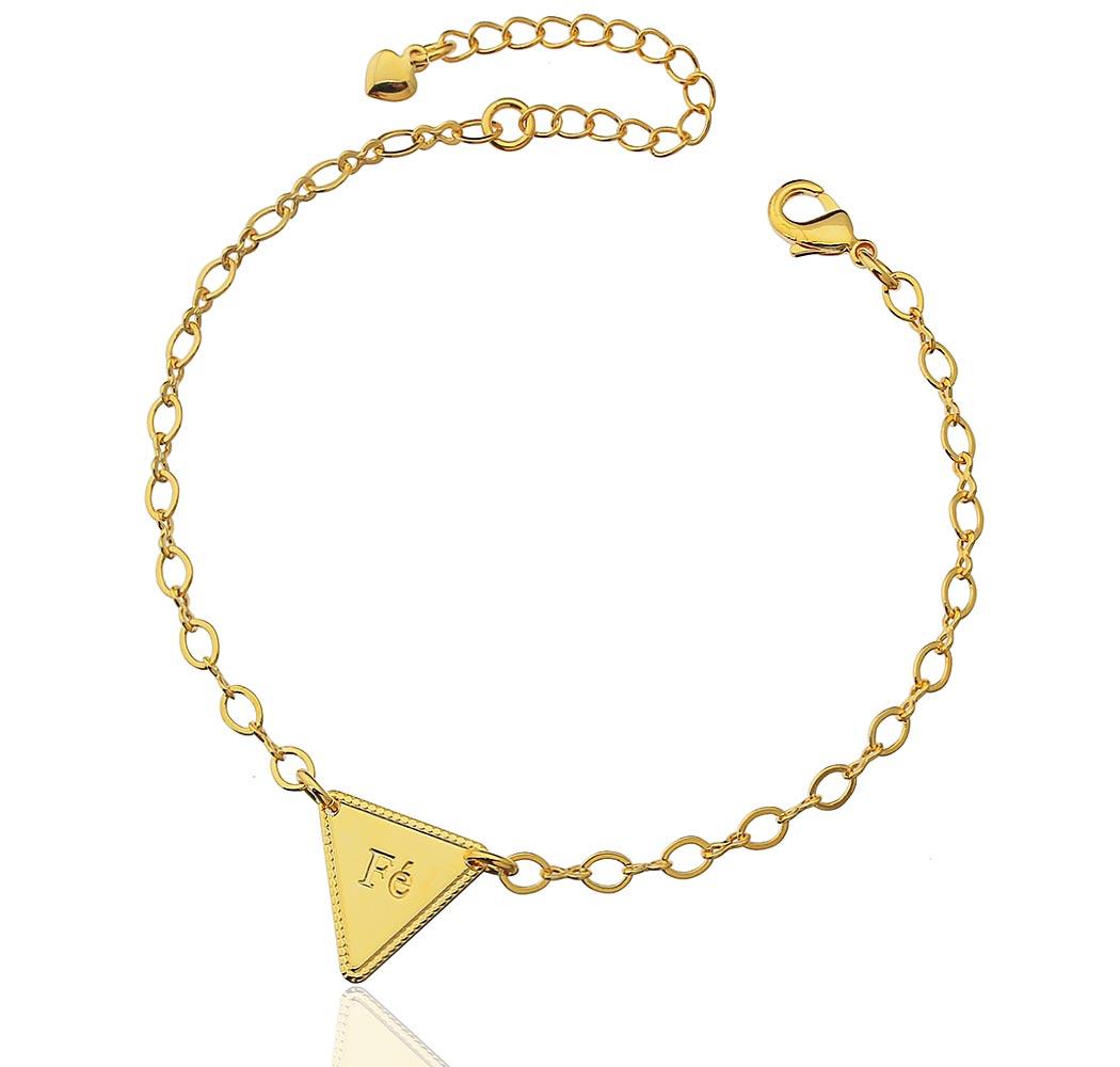 pulseira fé triangulo dourado