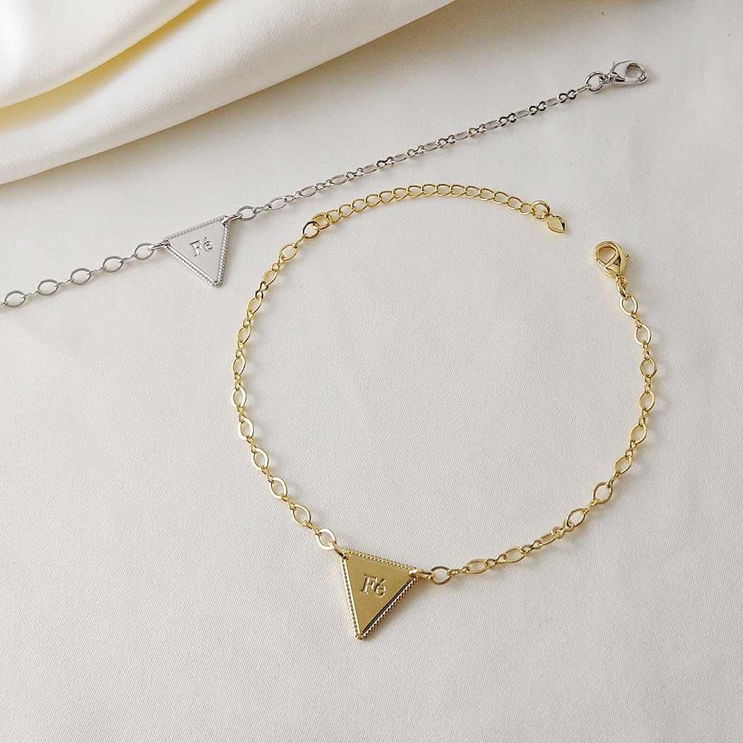 pulseira fé triangulo ródio claro