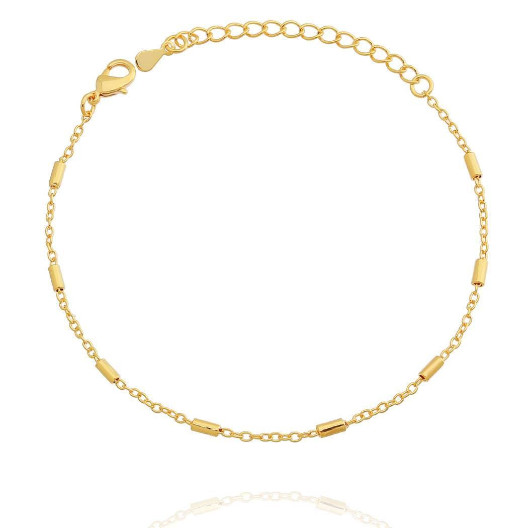 pulseira fina tubos dourada