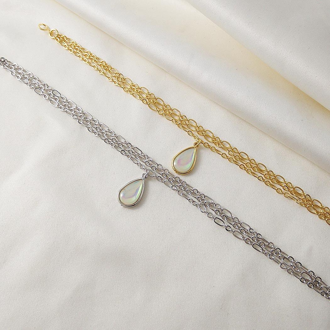 pulseira gota madrepérola dourada