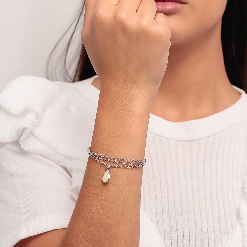 pulseira gota madrepérola ródio claro