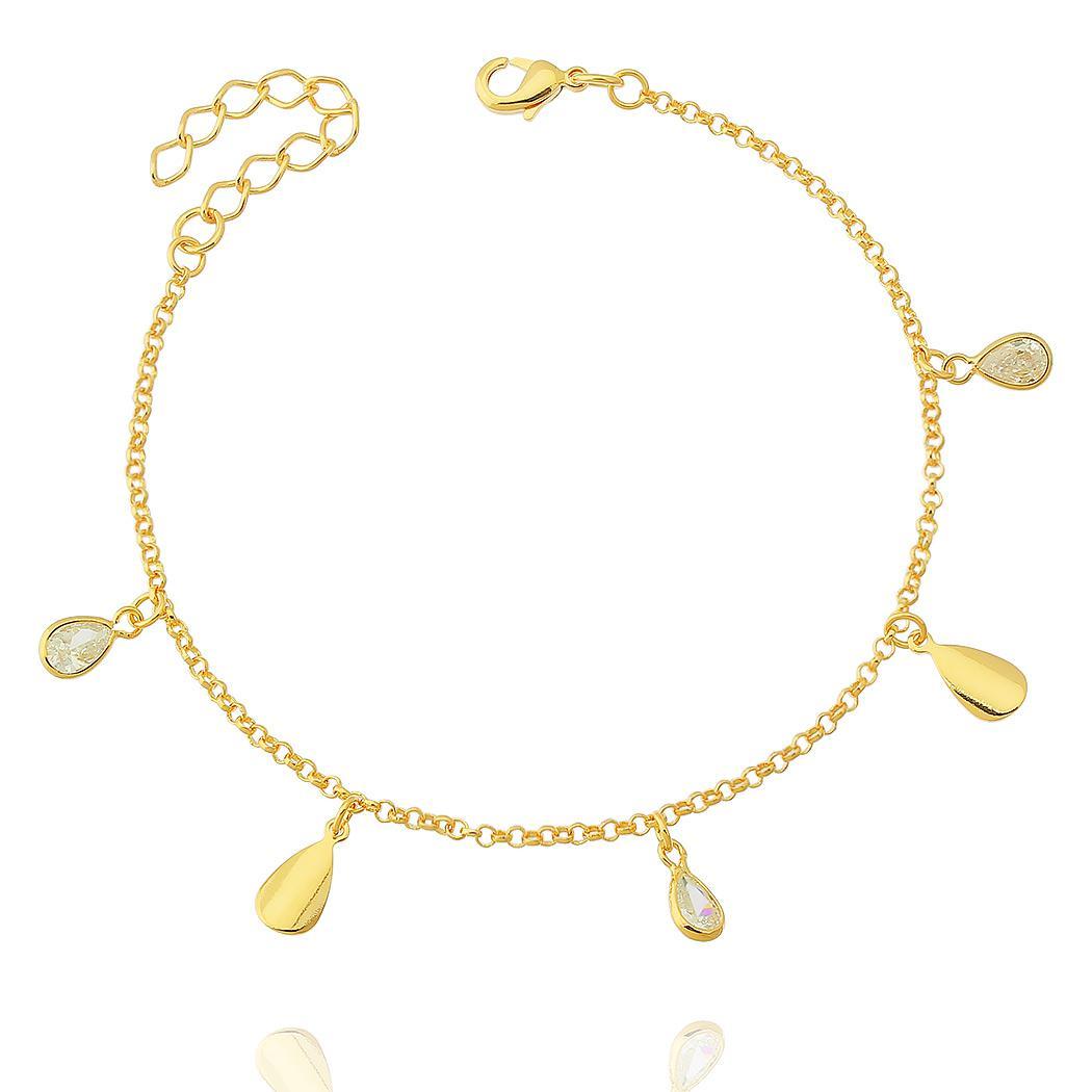 pulseira gotas zircônias dourado