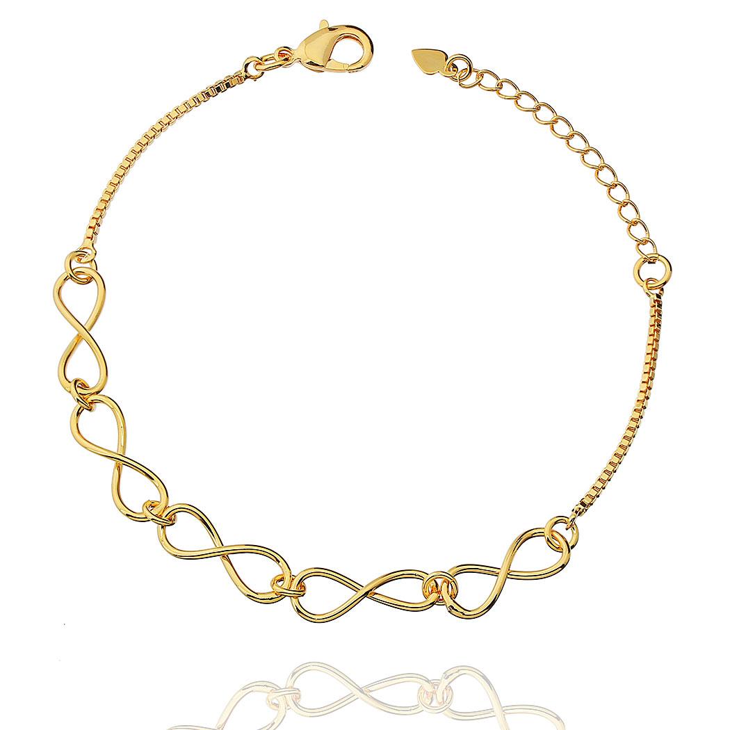 pulseira infinitos lisa dourado