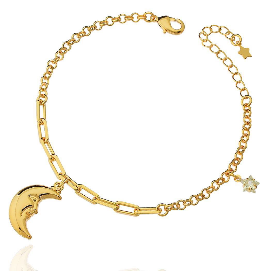 pulseira lua estrela zircônia dourada