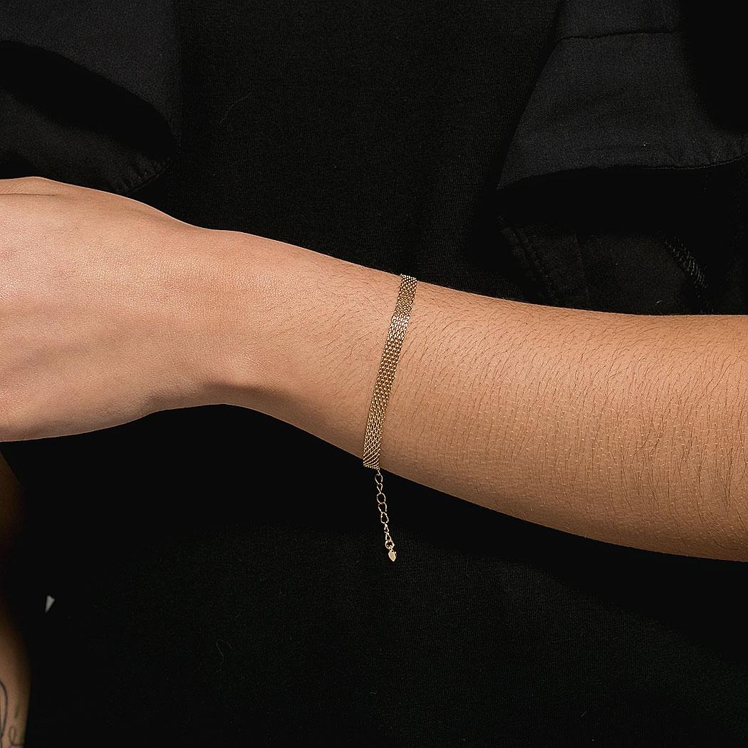 pulseira mallha articulada dourada