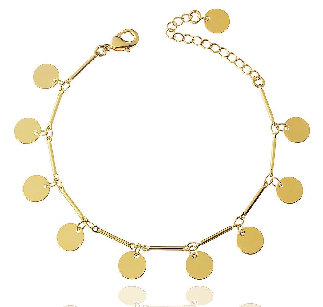 pulseira medalhas lisas cosmos dourada