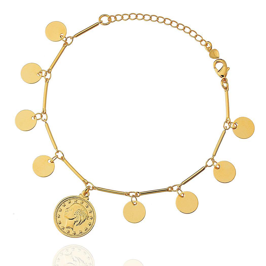 pulseira medalhas moeda Dourada