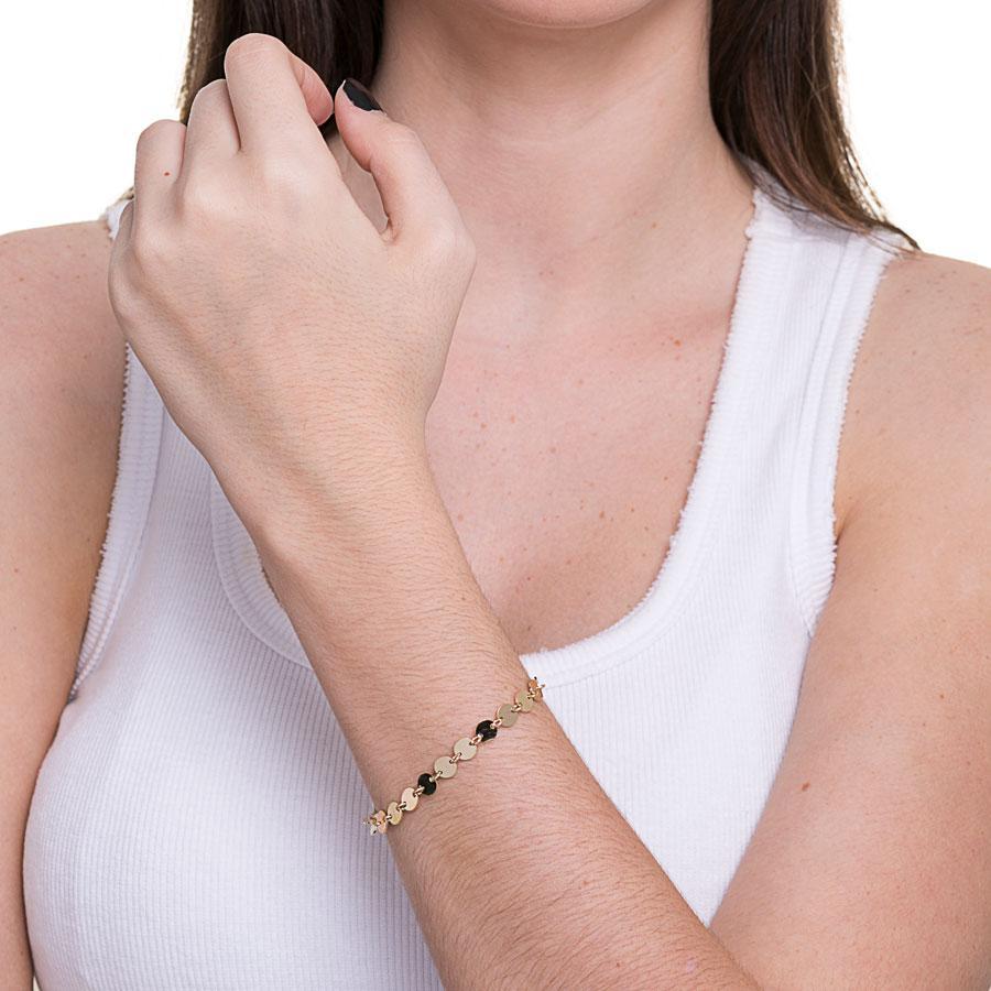 pulseira medalhinhas dourado